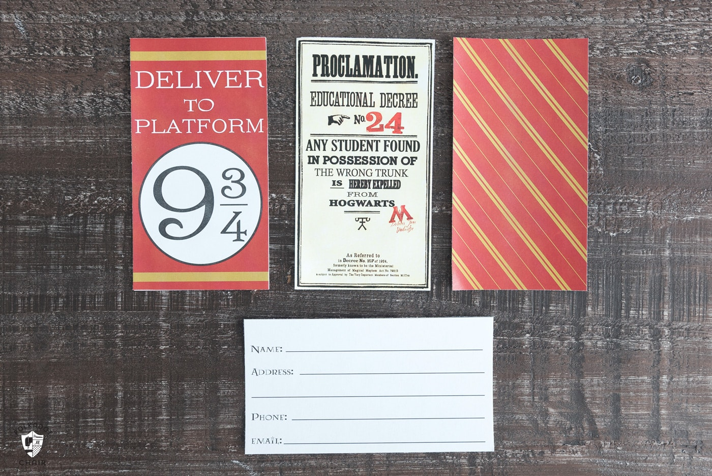 Harry potter luggage tags on wood tabletop