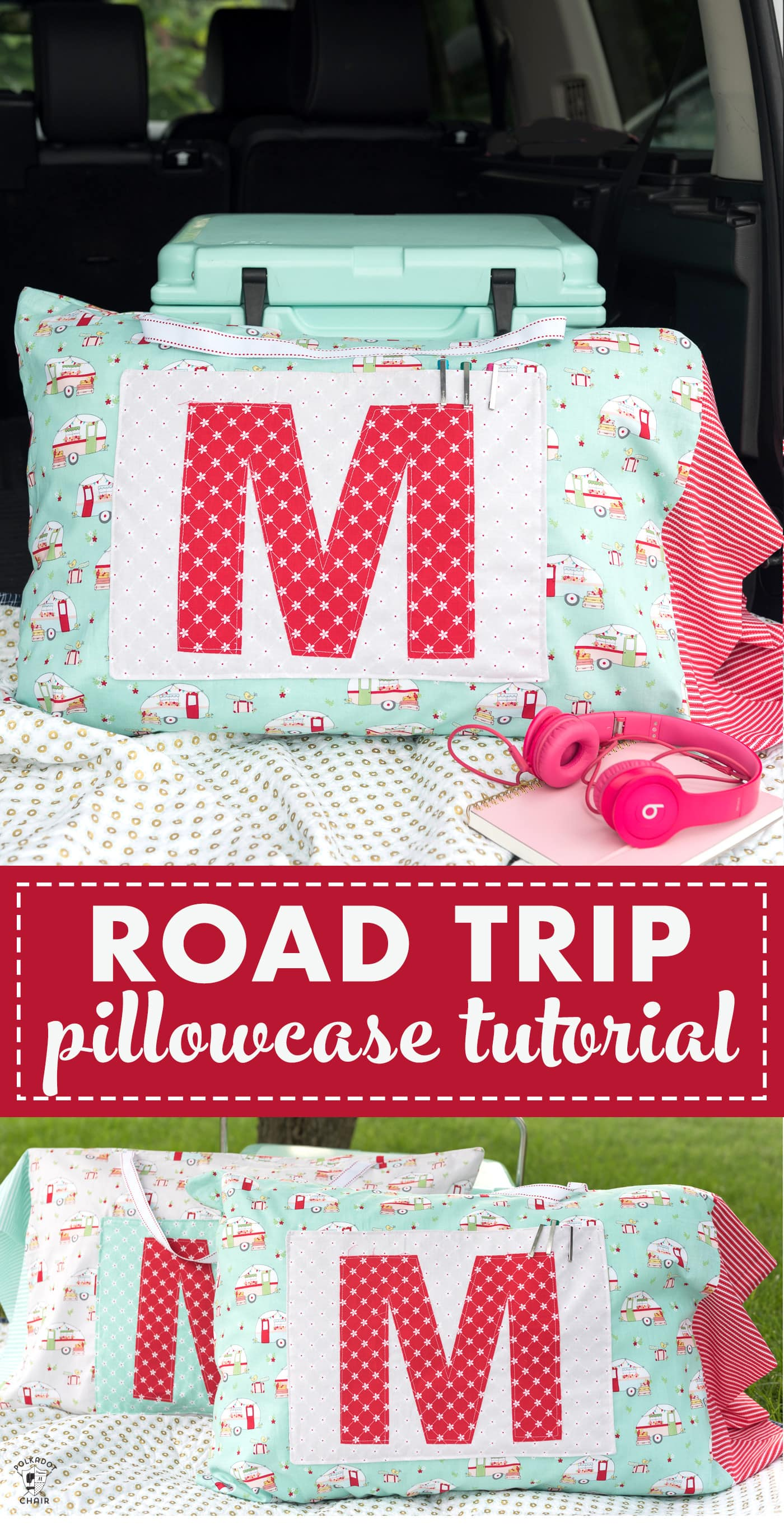 Make a cute pillowcase perfect for a road trip with this free tutorial. A road trip pillowcase for kids to take on trips with a pocket. #roadtrippillowcase #pillowcase #sewing #sew #sewingpatterns #sewingtutorials #freesewingtutorials