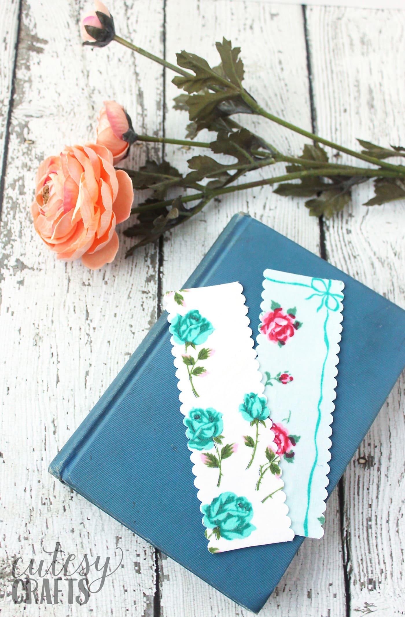 vintage linen bookmark