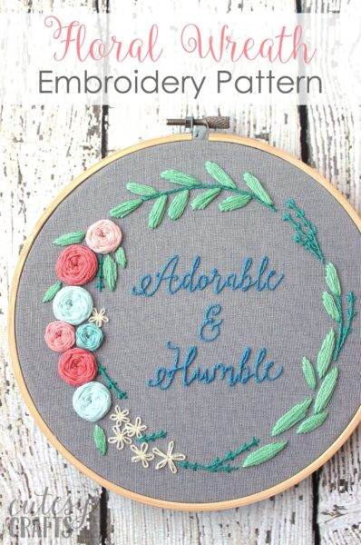 """Adorable and Humble"" Floral Wreath Hand Embroidery Pattern"