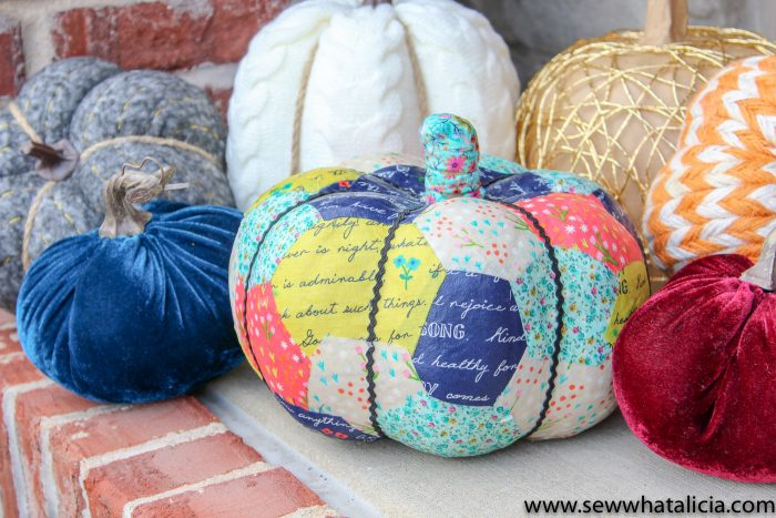 fabric decoupaged pumpkin