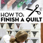 quilt blocks on white cutting mat and woman smoothing out quilt top on floor