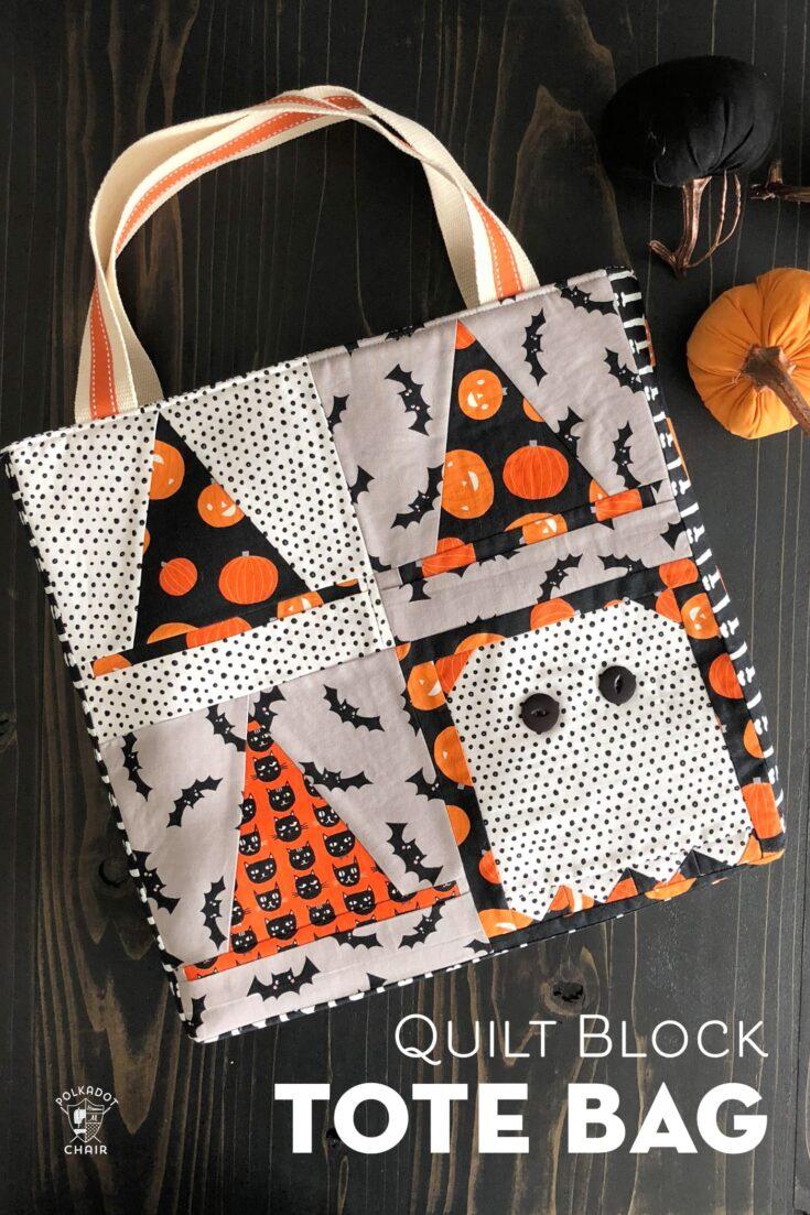 Quilt Block Tote Bag Tutorial - Halloween Version!