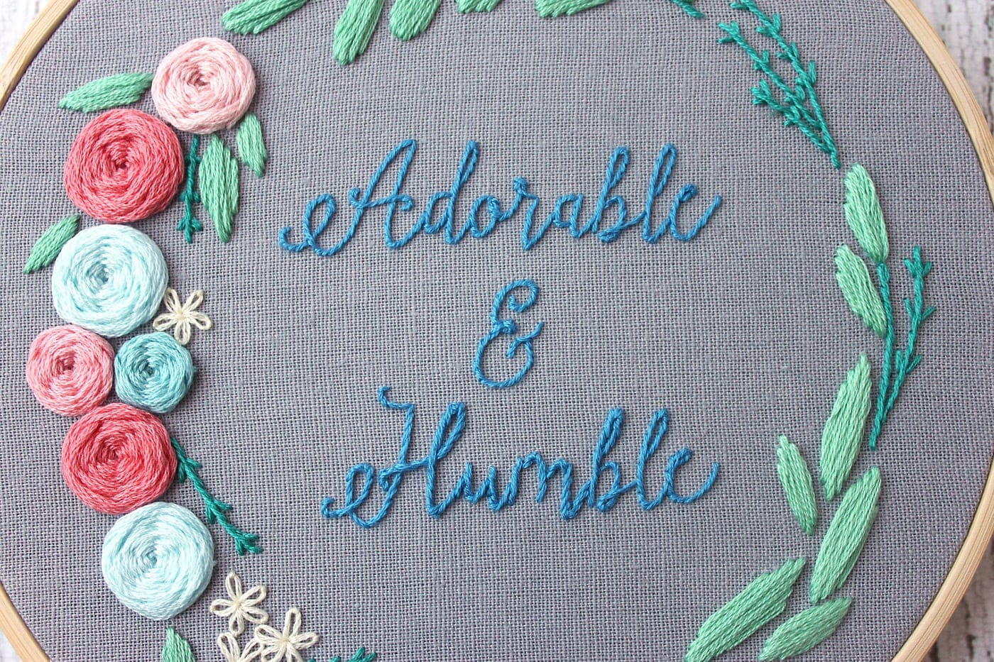 Floral wreath hand embroidery