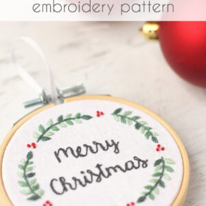 Merry Christmas Embroidery Hoop Ornament Pattern