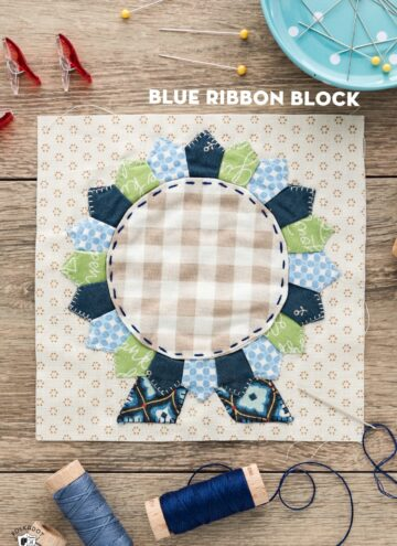 quilt block on table