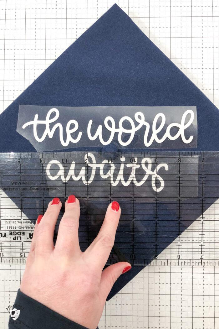 DIY Graduation Cap Decorating Ideas using Cricut Iron-On | The Polka