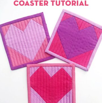 Quilted Heart Valentine Coaster Tutorial