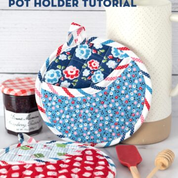 How to Make Round Quilted Potholders and Free Printable Baking Gift Tags