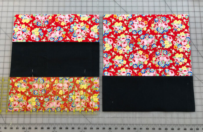 tote bag pieces with canvas sewn