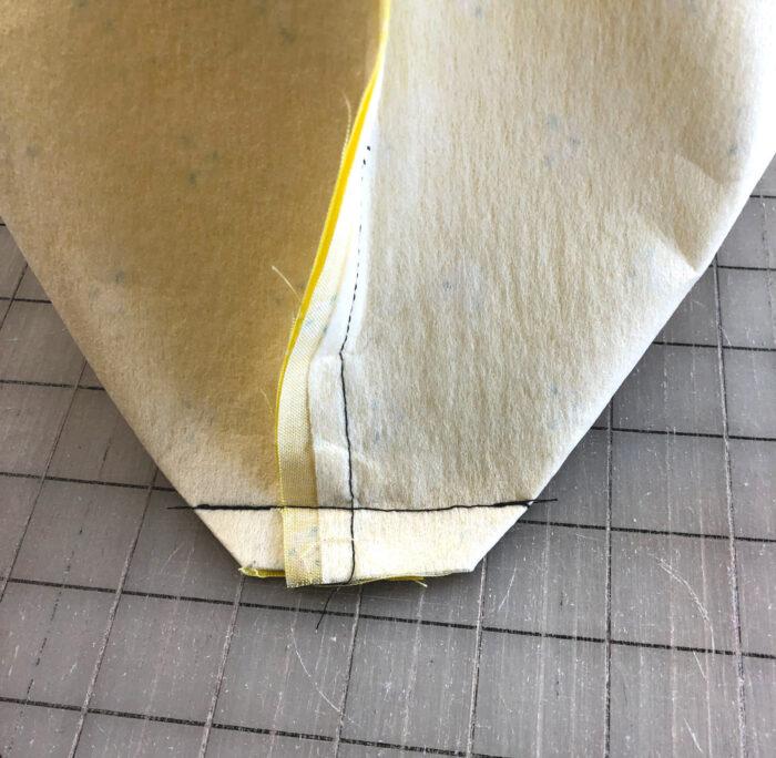 corner of tote bag sewn