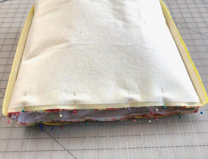 top of tote bag pinned