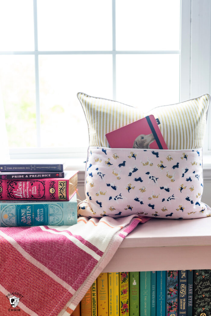 easy reading pillow with fox farm fabric