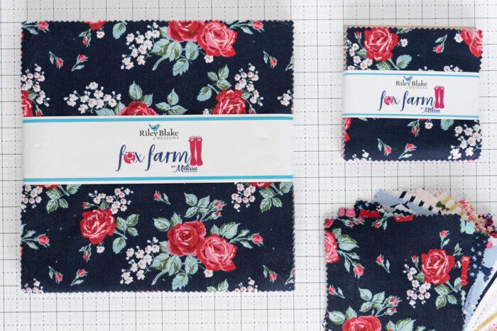 pre cuts of fox farm fabric on cutting mat