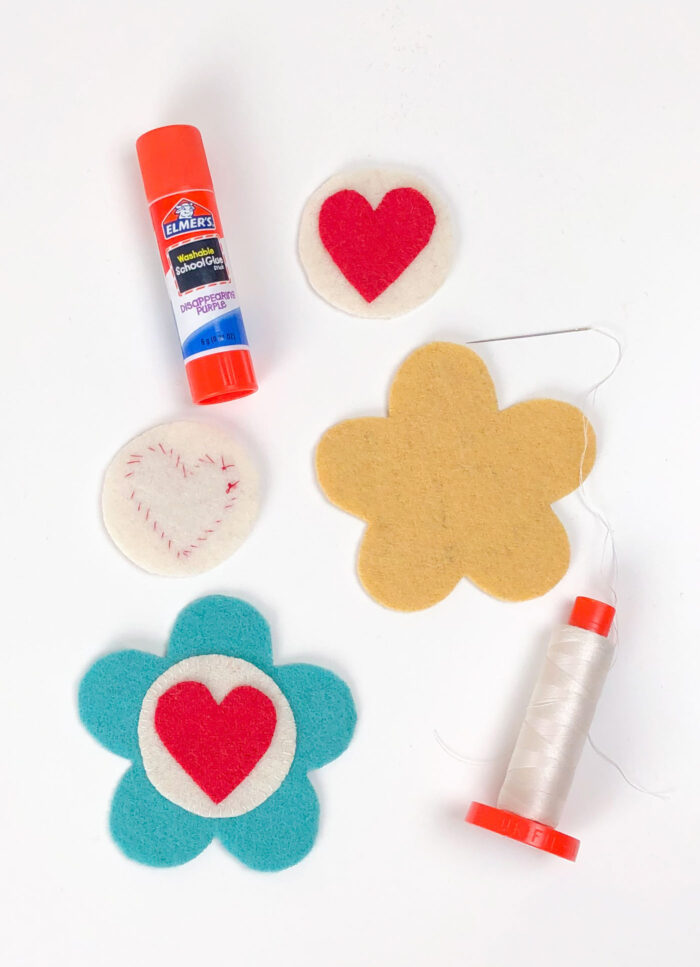 wool applique for flower pincushion