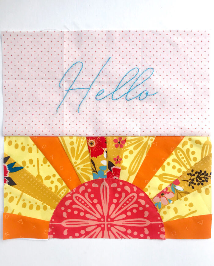 Hello Sunshine mini quilt block construction steps