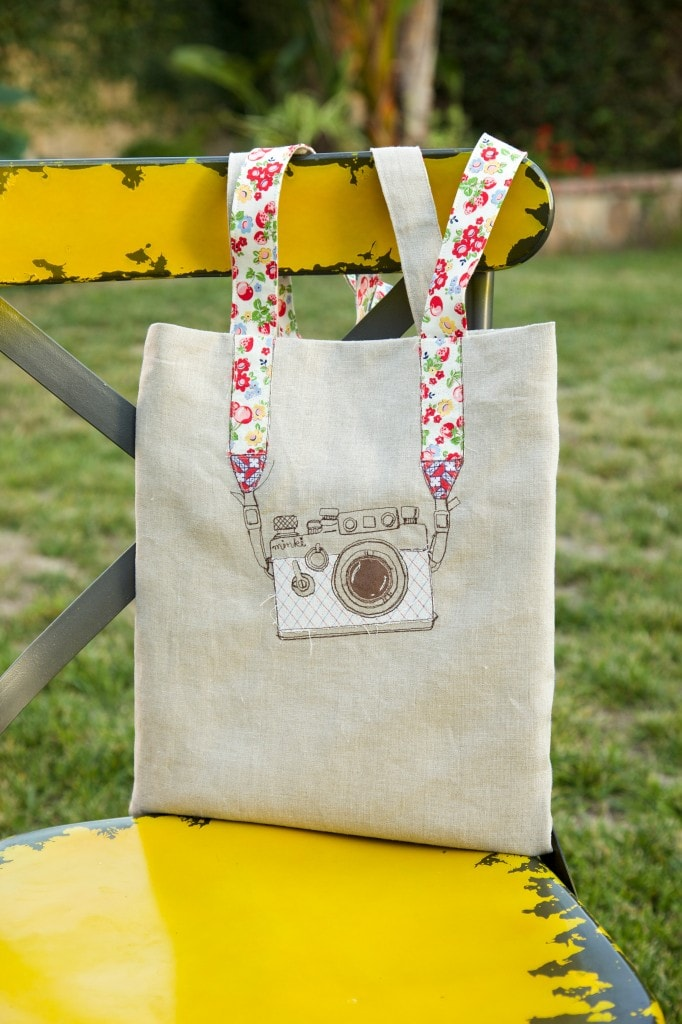 Camera embroidery tote bag