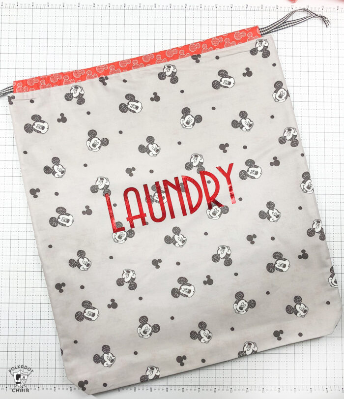fat quarter laundry bag on white cutting mat