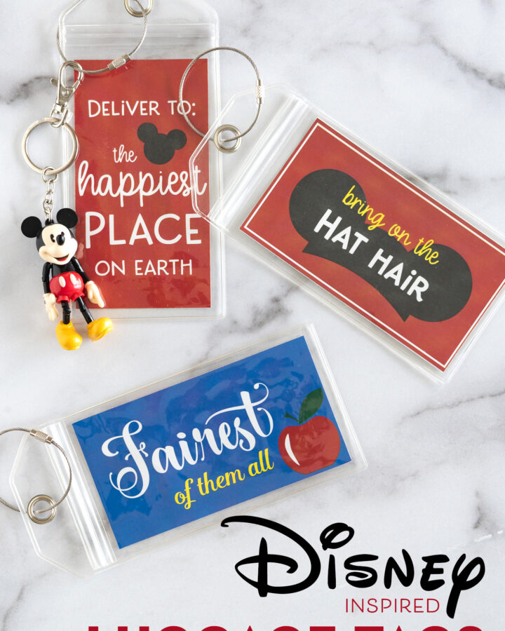 Printable Disney Luggage Tags on white counter top