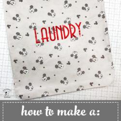 drawstring laundry bag on white cutting mat
