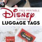 Printable Disney Luggage Tags on white counter top
