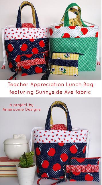Teacher Lunch Bags featuring Sunnyside Ave fabrics