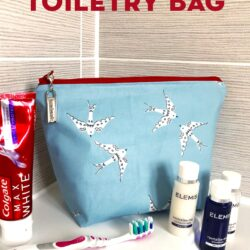 Laminated toiletry bag on bathroom counter