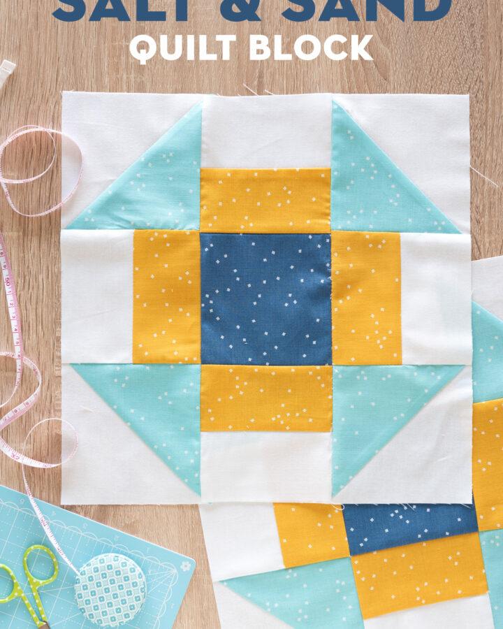 Churn Dash Quilt Block on table