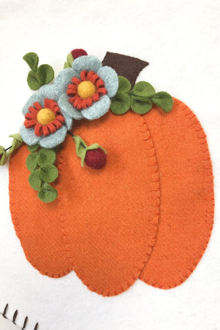 Autumn Pumpkin Banner close up of wool felt flowers