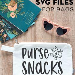 Purse Snacks Free Cricut SVG File on table top
