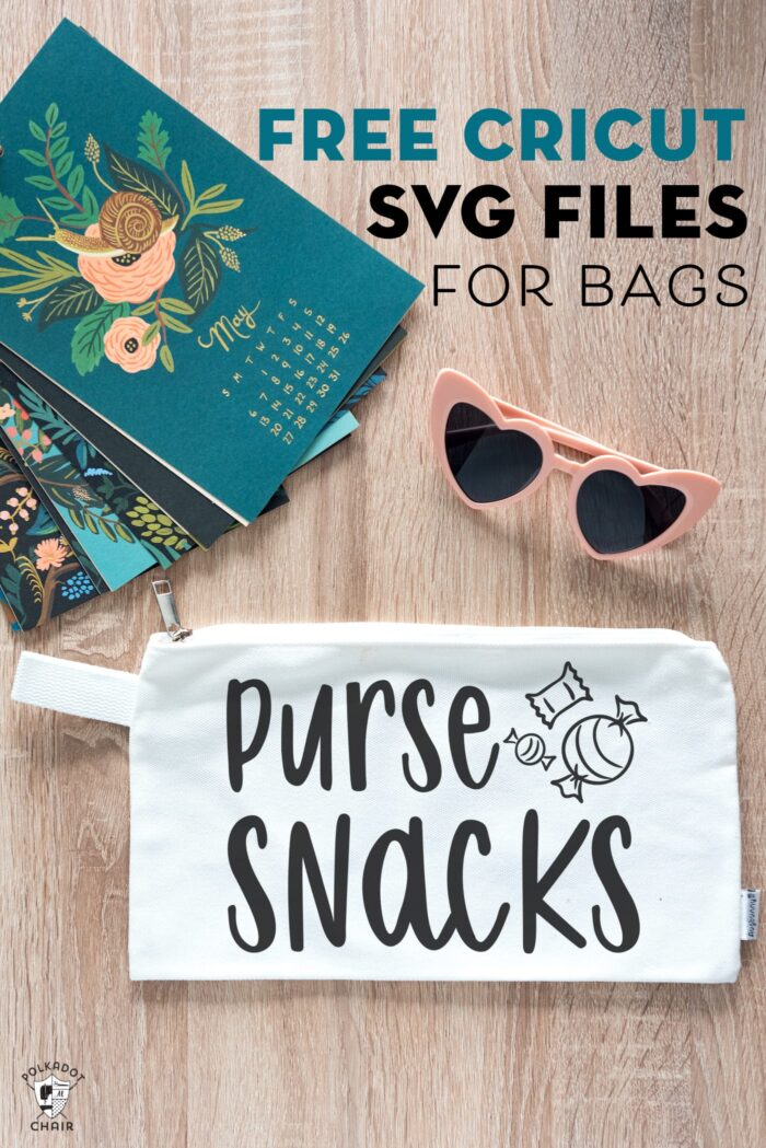 Purse snacks cricut svg file cut out and applied to a white zip bag laying on a table top.