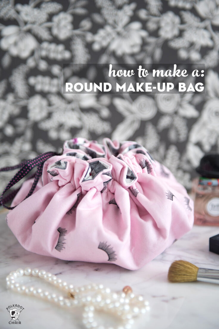 Round Drawstring Make Up Bag