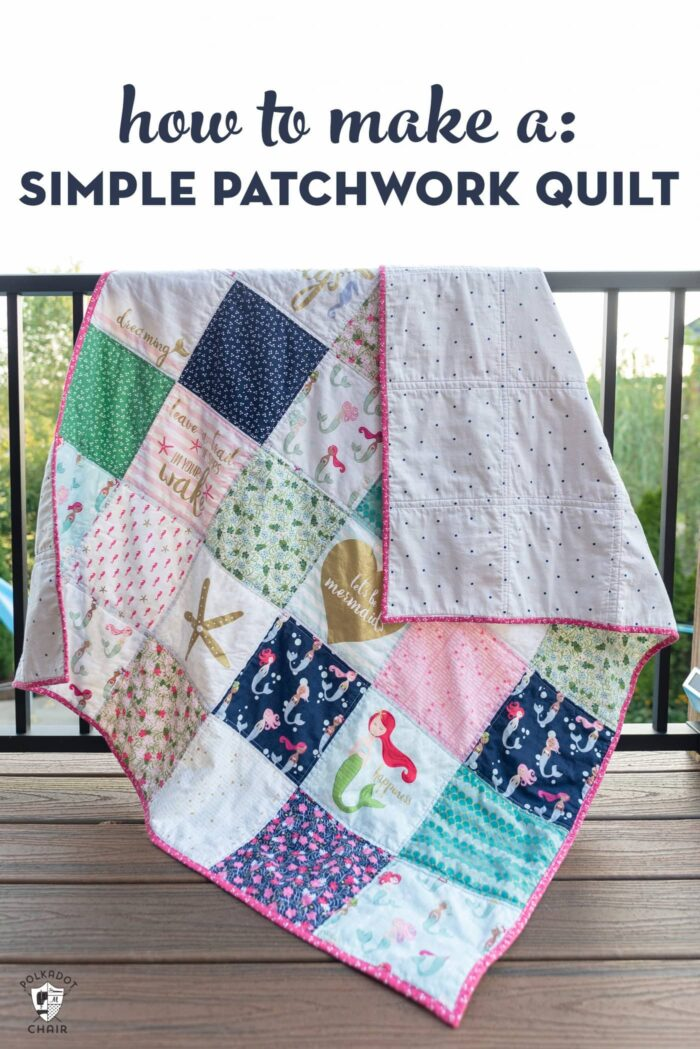 Simple patchwork quilt on railing