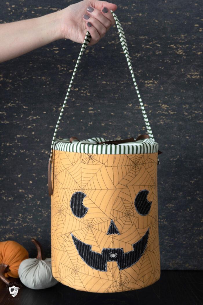 Pumpkin Halloween Bucket on black background