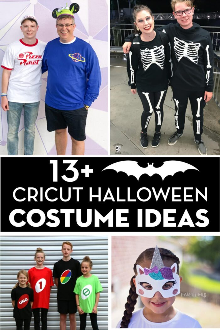 DIY Cricut Halloween Costume collage. Includes people dressed up in Toy Story Costumes, Skeleton Costumes, Game Board costumes and Unicorn Costumes.