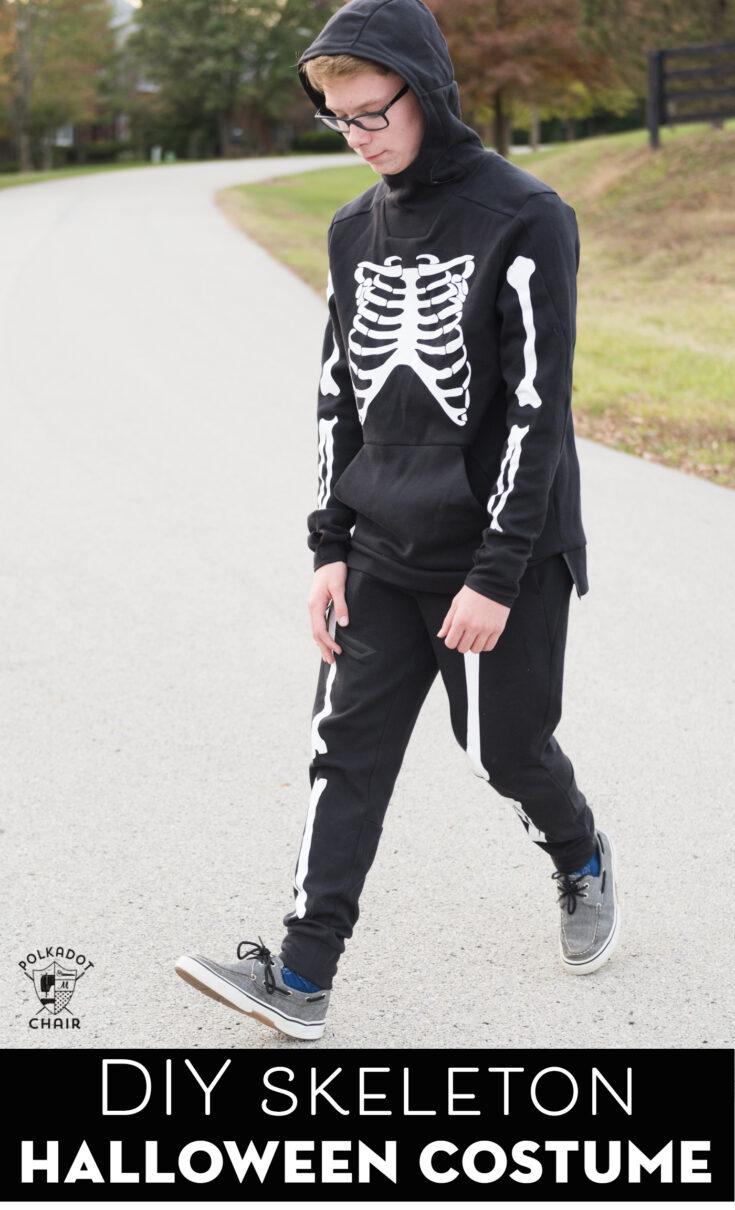 DIY Skeleton Halloween Costumes & Free Cricut SVG Files