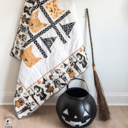 halloween quilt on ladder with witch hat