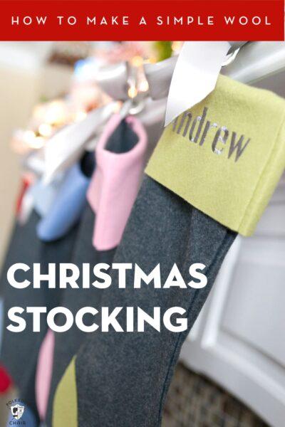 Wool Christmas Stocking hanging on fireplace mantle