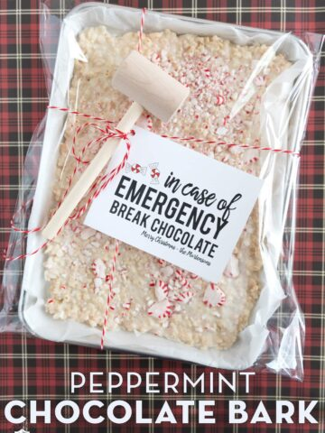 Peppermint Bark Christmas Gift on red plaid tablecloth