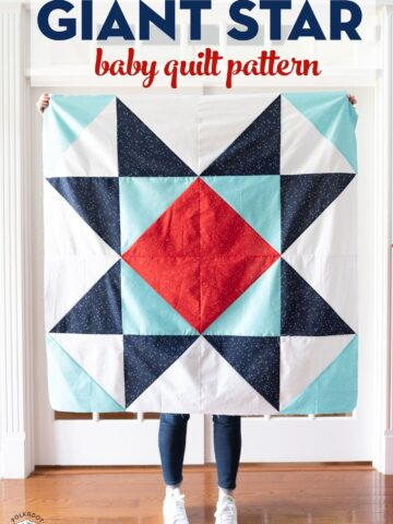 Giant star baby quilt being held