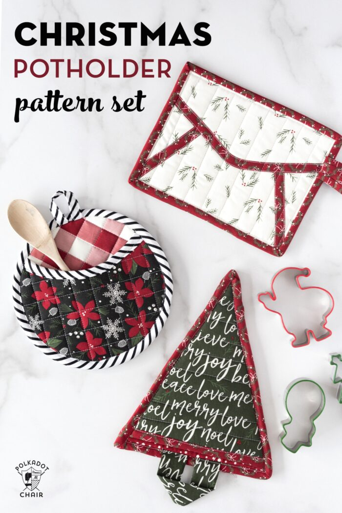 Quilted Christmas Potholders on White Marble Table