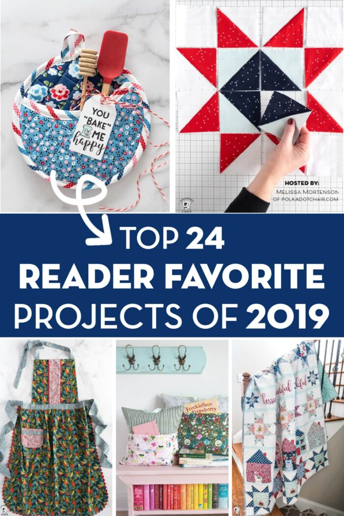 Collage image with the top reader favorite projects of 2019. From right to left, pot holder, star quilt, apron, reading pillow and let's stay home quilt.