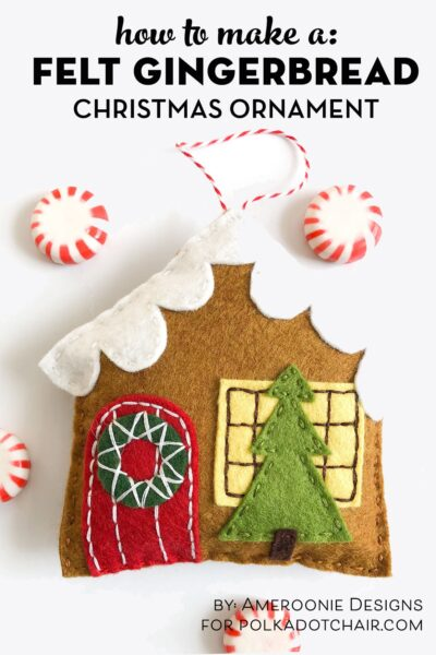 Felt Gingerbread house ornaments on white tabletop