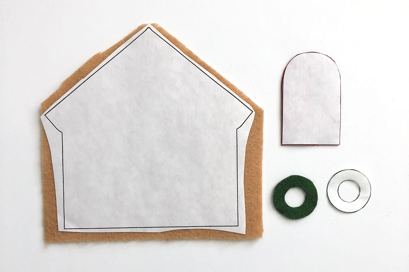 Supplies for Felt Gingerbread House ornaments