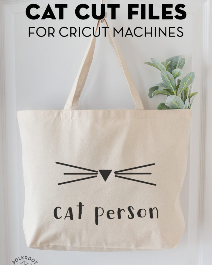 cat person tote bag made with cat themed svg files