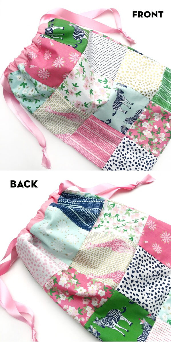 image showing front and back of drawstring bag in a collage on white tabletop