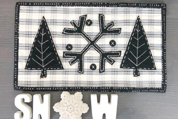 Wool Applique Winter Candle Mat Pattern