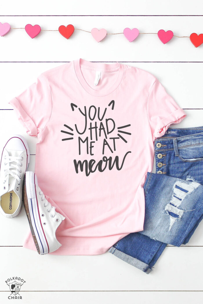 you had me at meow pink tshirt made with cat svg files and cricut machine