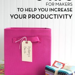 Title image for productivity tips. A pink box with fabric in it on a table in front of a white wall.