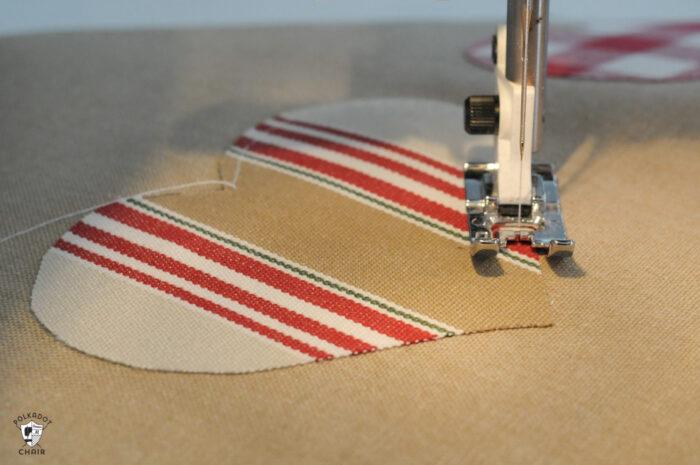 sewn heart on sewing machine